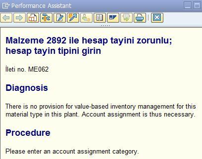 Malzeme 2892 ile hesap tayini zorunlu hesap tayin tipini girin İleti no ME062