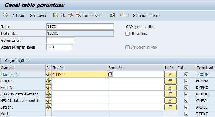 TSTC İşlem kodu