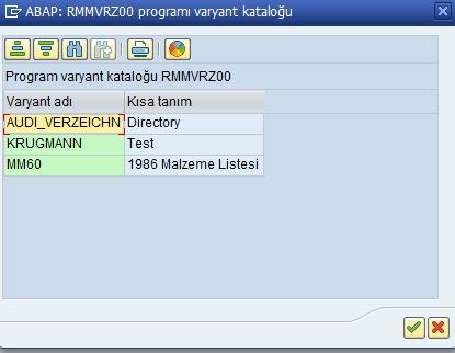 MM60 varyant listesi